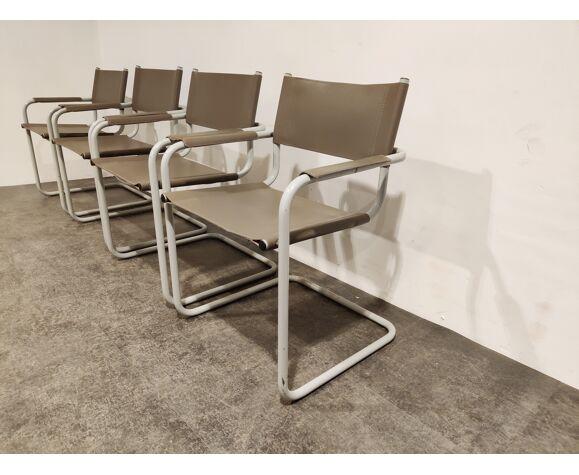 Ensemble de 4 chaises à manger en porte-à-faux, années 1980