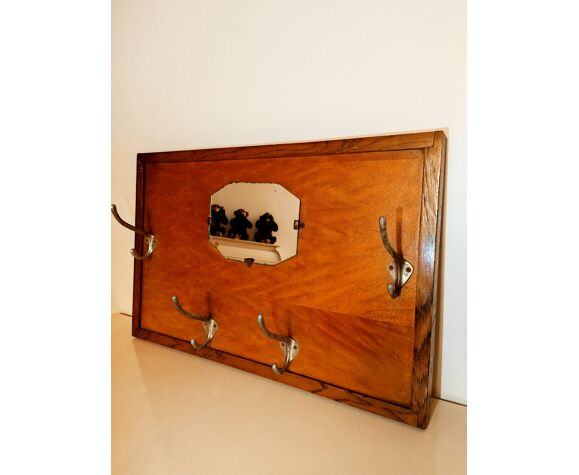 Mirror coat rack, old wood