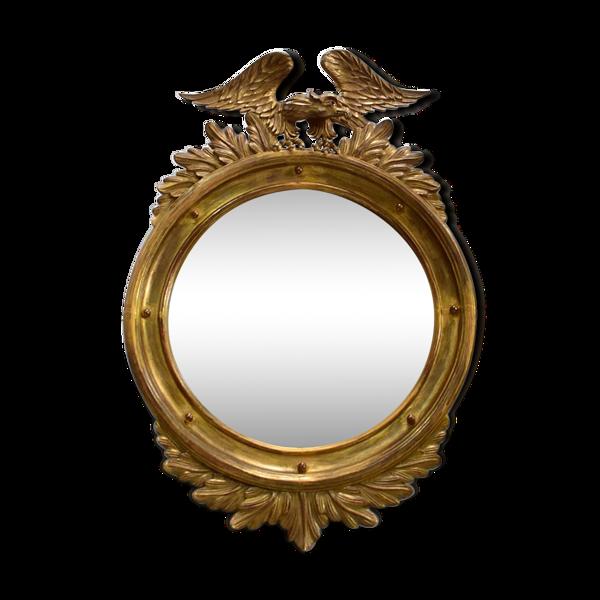 Miroir rond en bois doré, style Empire – début XXe - 89x61cm