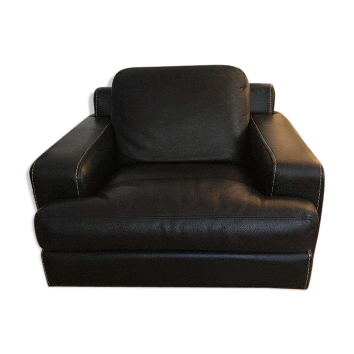 Fauteuil Roche Bobois cuir noir