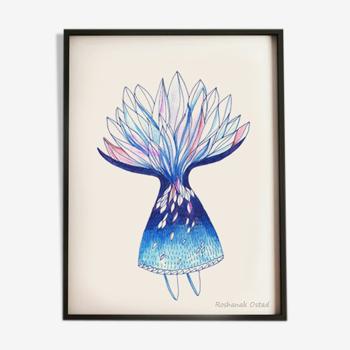 "Illustration poétique ""Famme bleu"", inspiration iranienne"