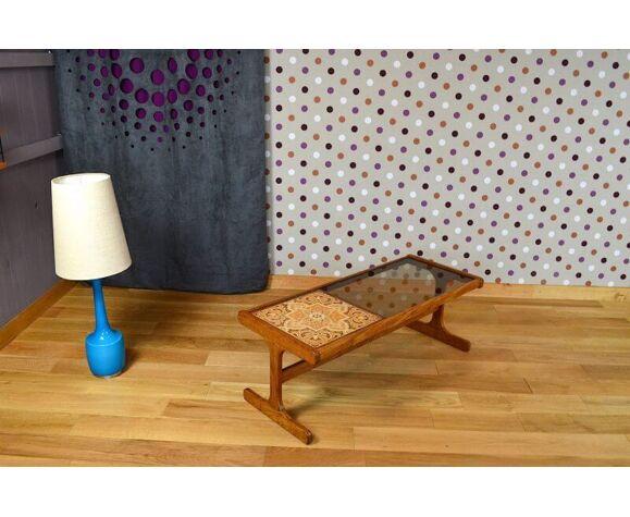 Table basse design scandinave en teck & verre vintage 1960