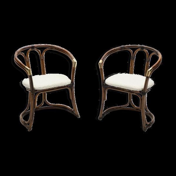 Selency Paire de fauteuils bambou laiton bouclette début 1960
