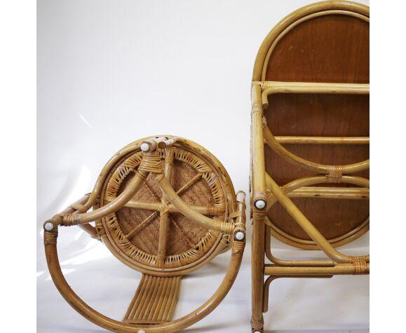 Set de table et chaises compact en bambou et rotin 1970s