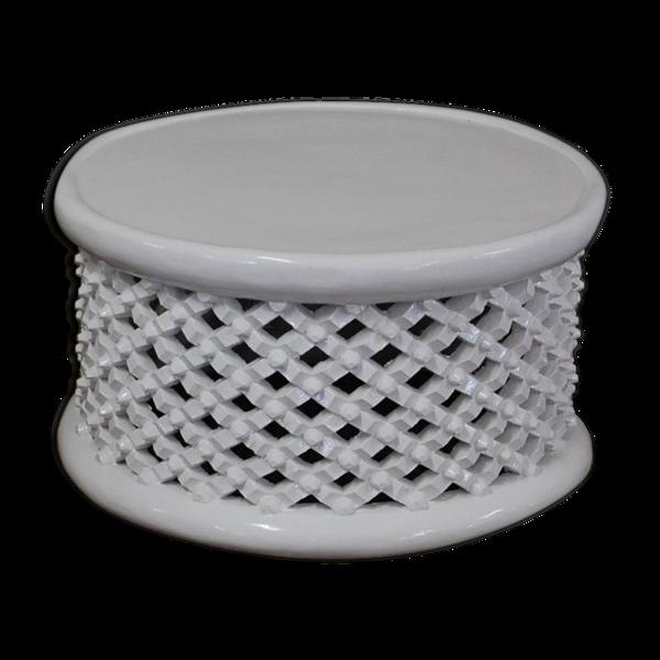 Tabouret bamiléké en bois blanc de 90/90 cm