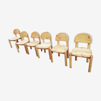 Série de 6 chaises en pin de Rainer Daumiller