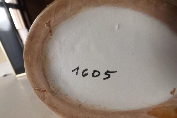 Pichet imitation bois émaux 1950 rétro vintage numéroté 1605