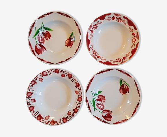 Set 4 assiettes creuses roses