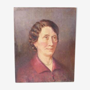 Huile sur toile portrait de femme notable