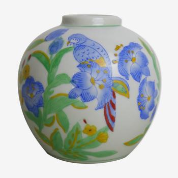 Vase rond en céramique motifs perroquets et fleurs