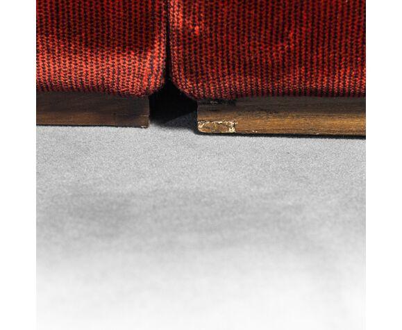 Canapé modulaire angulaire en tissu bordeaux des années 70 vintage
