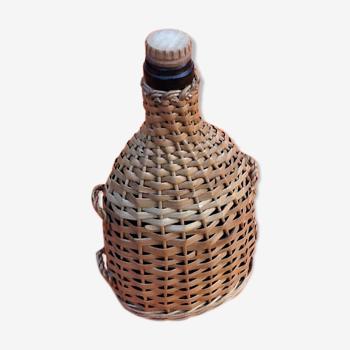 Bouteille verre ancienne osier tressé bouchon bois et liège