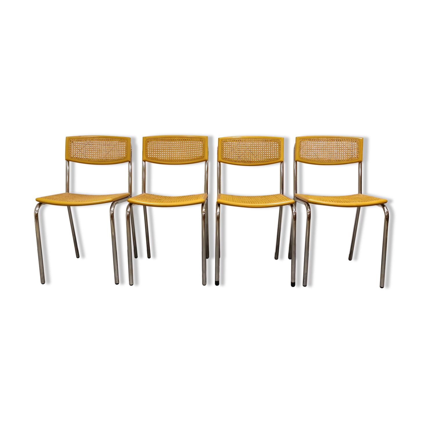 Ensemble de 4 chaises de salle à manger italiennes en rotin et chrome, années 1970