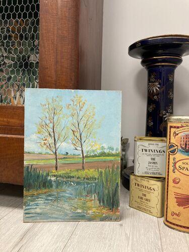 Peinture vintage aux peupliers