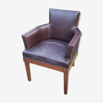 1930 art deco office armchair in mahogany and brown leather