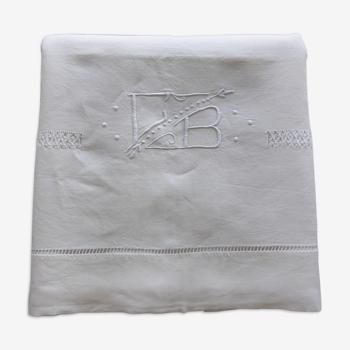 Drap ancien en lin brodé de jours fantaisie+monogramme GB-225x278cm