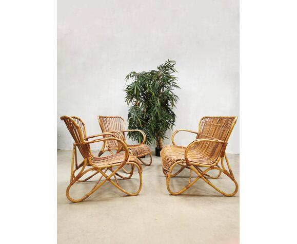 Canapé vintage et fauteuils en rotin Rohé Noordwolde