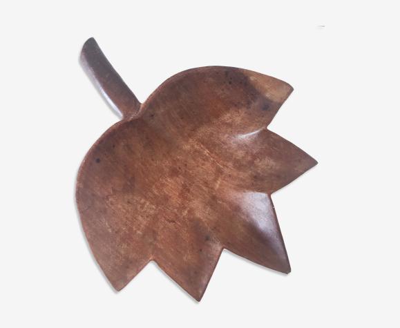 Vide poche feuille en bois vintage