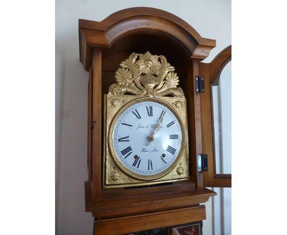 Horloge comtoise polychromé de fleurs
