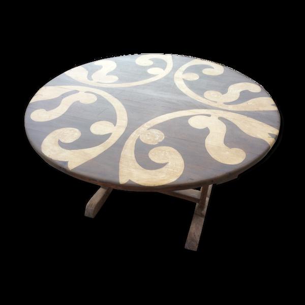 Selency Table de vendange en bois massif décoré