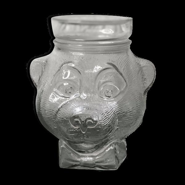 Pot en verre boîte à bonbon biscuit en forme de tête ours