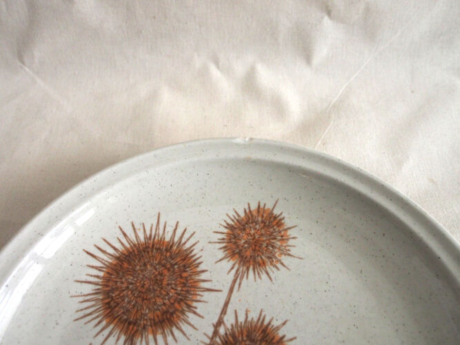 Set de 8 assiettes plates Sarreguemines en grès décor Chardon