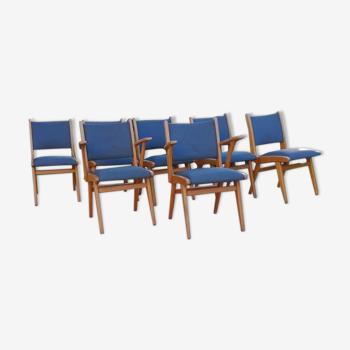 Ensemble de 7 chaises vintage.