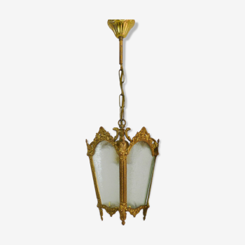 Ancienne lanterne à 4 faces en verre, lustre en bronze doré et verre, année 60