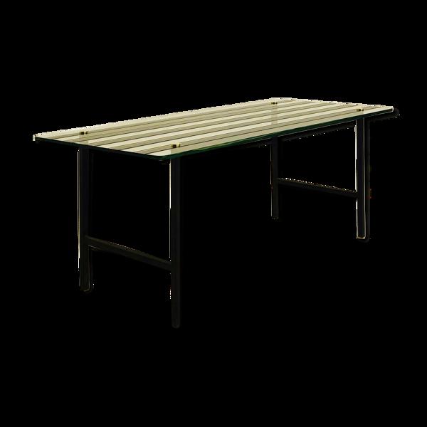 Table basse verre et acier 1950
