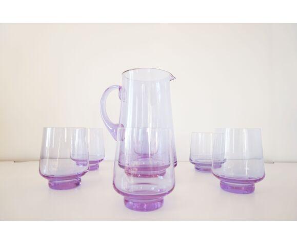 Service verres et carafe violet 1970