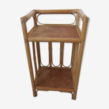 Etagère ou table de nuit en rotin bambou années 60 70