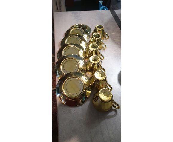 Service à cafe porcelaine de bavière dorée