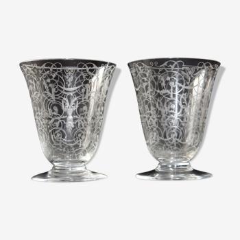 """Deux verres Baccarat modèle """" Michel-Ange """" en cristal gravé."""