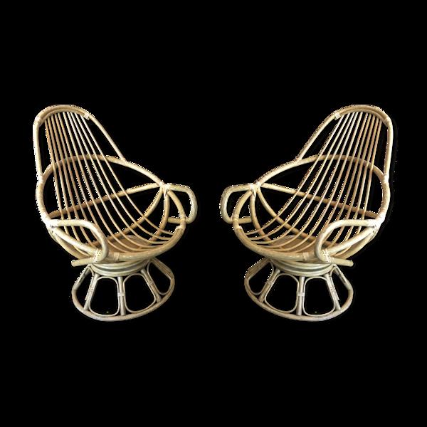 Selency Paire de fauteuils pivotants en osier circa 1960