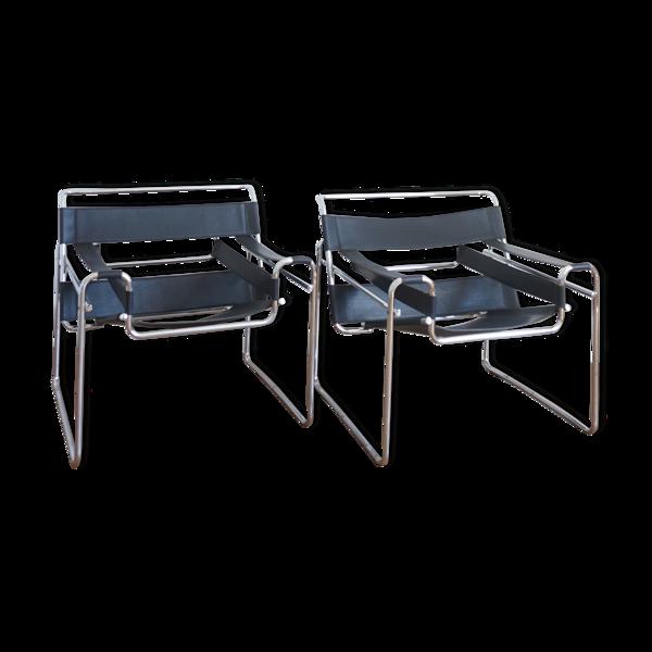 Paire de fauteuils B3 Wassily par Marcel Breuer