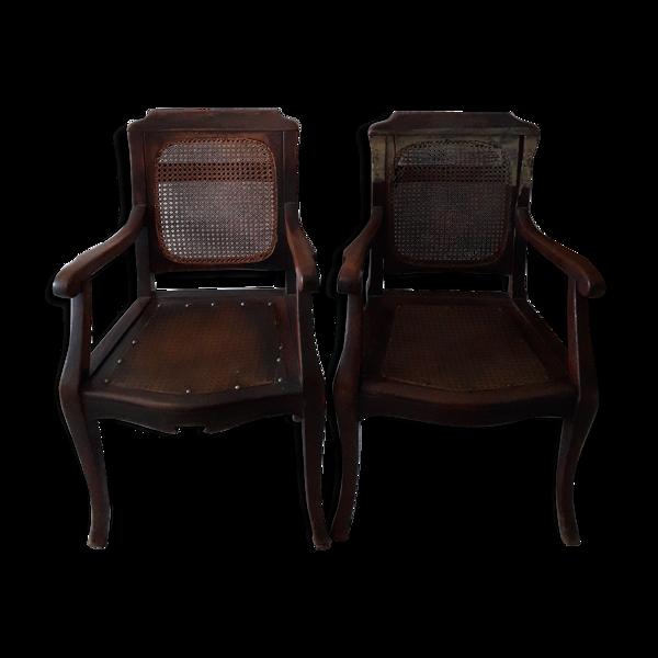 Paire de fauteuils de barbier en bois et cannage
