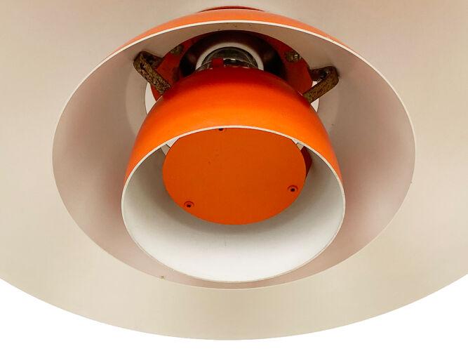 Red pendant light PH 4/3 by Poul Henningsen for Louis Poulsen. Denmark 1970s