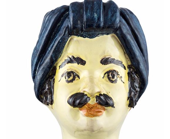 Vase tête mini bleu homme
