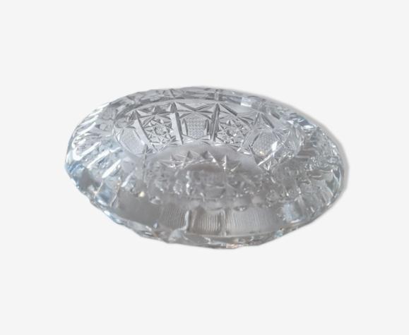 Cendrier vide poche en verre épais ciselé