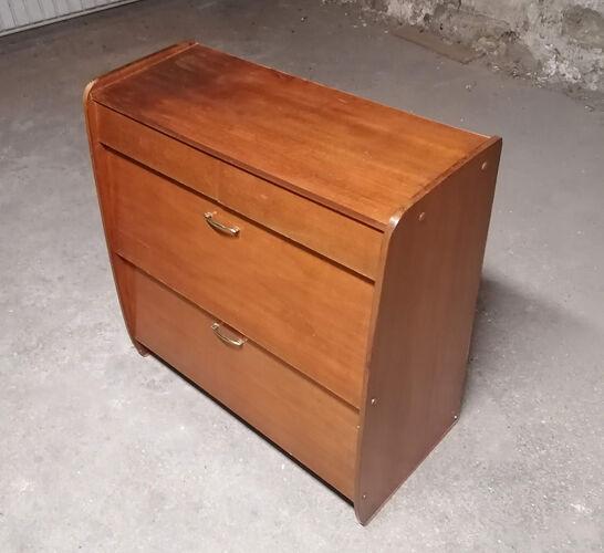 Meuble de rangement placage bois 1960