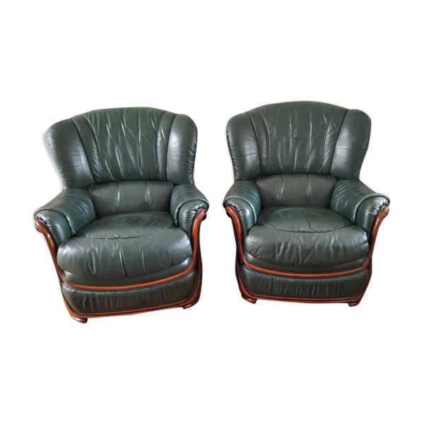 Duo de fauteuils cuir années 1980