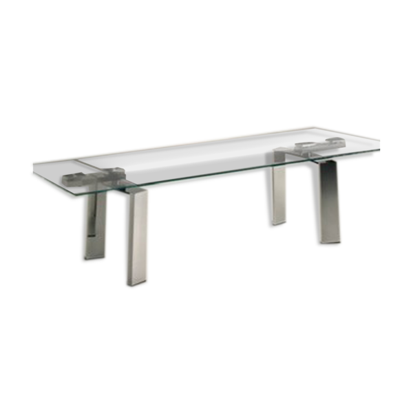 Table Daytona verre transparent 2 rallonges marque Cattelan L240xH75xP90