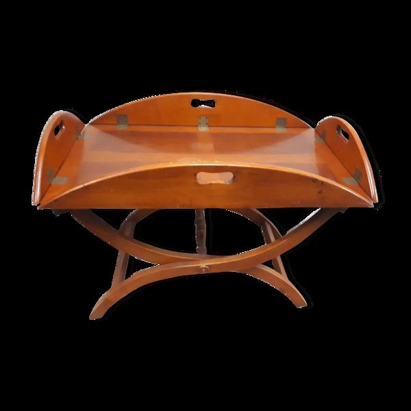 Table basse bois plateau ovale amovible style nautique