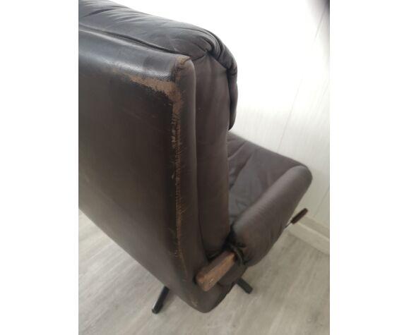 Chaise longue en cuir vintage, inclinable