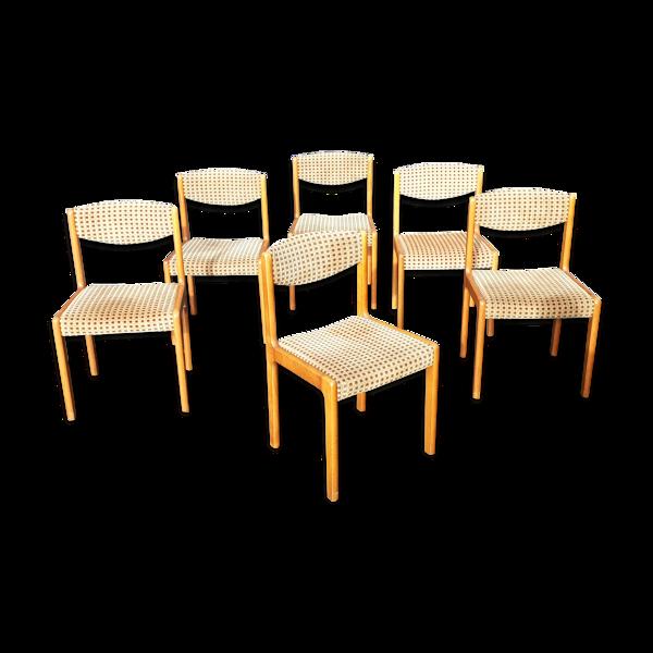 Selency 6 chaises scandinaves pieds compas vintage XXeme