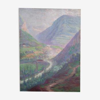 Huile sur toile paysage Henri-Laurent Jaudin (1851-1929)