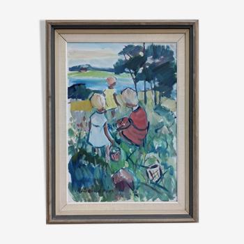 Peinture à l'huile impressionniste du milieu du siècle - 'Children' 61x81cm