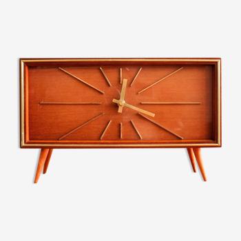 Horloge allemande de table en bois de Weimar, années 60