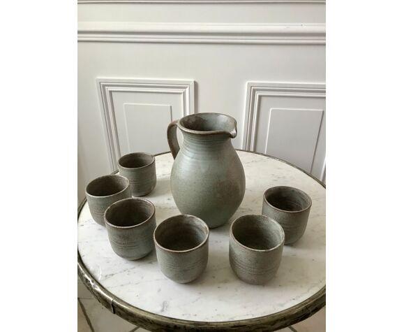 Service pichet et ses 6 tasses assorties en grès vintage