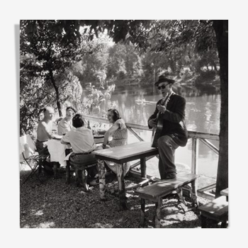 "Photographie ""Bords de Marne à Nogent"" 1959  hommage à Willy Ronis   /   N&B   /   15 x 15"
